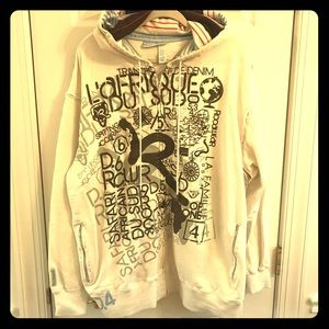 Roca Wear hoodie sz XXL off white zip off sleeves